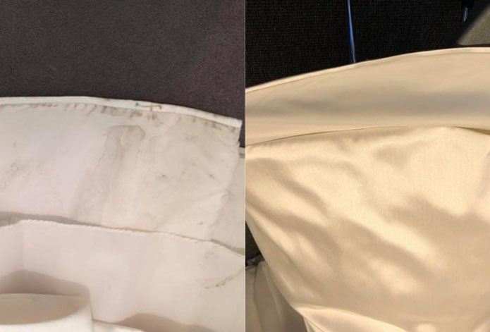 Before and After Cleaned Wedding Dress